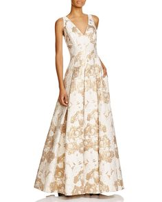 Aidan Mattox Sleeveless V-Neck Gown | Bloomingdale's
