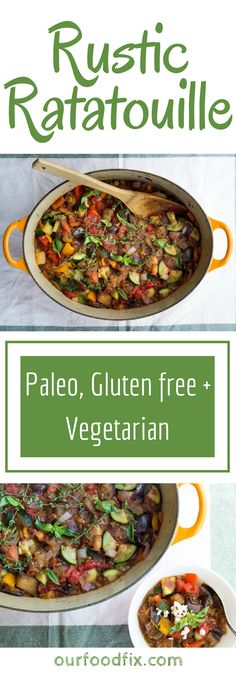 A rustic one-pan meal consisting of summer's best vegetables, all cooked down into a silky stew. Paleo recipes | Gluten free recipes | Vegetarian recipes | Dairy free recipes | Summer recipes | One pan meals | One pot meals | Make ahead dishes | Leftovers | Party food