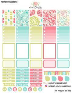 Free printable Planner stickers #flowers #pastels