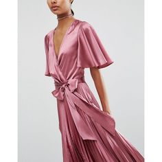 ASOS Pleated Wrap Midi Dress in Satin (£54) ❤ liked on Polyvore featuring dresses, wrap dress, asos dresses, tall dresses, v neck wrap dress and pleated dress