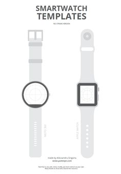 Smartwatch templates for UX wireframe sketches