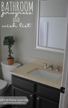 Guest Bathroom Progress and Wishlist Inexpensive bathroom renovation ideas! I think a new vanity top Bathroom Renos, Bathroom Wall Decor, Bathroom Renovations, Home Remodeling, Bathroom Ideas, Bathrooms, Bathroom Makeovers, Bathroom Plants, Budget Bathroom Remodel