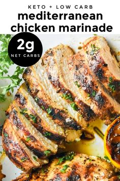 *NEW* Mediterranean chicken marinade uses bold tasty spices and balsamic vinegar to temper moist succulent chicken and coax out layers of vibrant flavor. #mediterraneanchickenmarinade #mediterraneanchicken #ketochickenmarinade #keto #lowcarb Spicy Chicken Marinades, Chipotle Chicken Marinade, Chicken Marinade Recipes, Low Carb Chicken Recipes, Low Carb Chicken Salad, Keto Chicken, Yum Yum Chicken, How To Cook Chicken, Low Carb Pizza