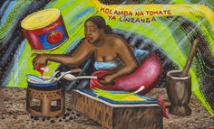 Papa Mfumu'Eto 1er - Série miniatures - Kolamba na tomate ya linzanza, 2013, acrylique sur toile, 21,5 x 35,5 cm