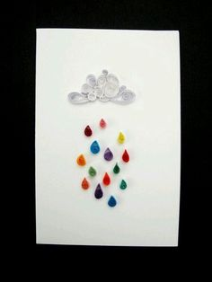 Just needs a Silhouette in the rain with an umbrella. (Multi coloured rain quilled card by allanamphotography on Etsy, Paper Quilling Cards, Origami And Quilling, Paper Quilling Patterns, Quilled Paper Art, Quilling Paper Craft, Quilling Designs, Paper Beads, Paper Crafts, Quilling Ideas