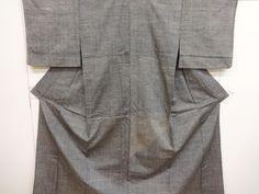 ANTIQUE HITOE KIMONO / TSUMUGI / WEAVE PATTERN