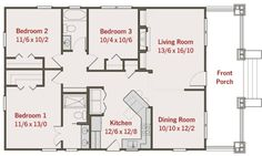 1260 square feet 3 bedrooms 2 bathroom bungalow house plans 0 garage - Easy Home Plans Cottage House Plans, Dream House Plans, Small House Plans, House Floor Plans, Bungalow Homes, Bungalow House Plans, Craftsman Style House Plans, Small Bungalow, Small House Living