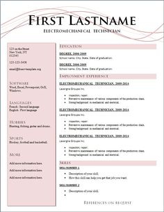 Resumes, Free Resume Templates 2015 And Best Action Words: Best 7 Free  Resume Templates. Resume Writing ...