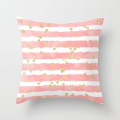 Modern blush pink watercolor stripes gold confetti pattern Throw Pillow by Girly Trend @society6 #society6 #products #design #shop #shopping #buy #sale #fun #gift #idea #accessory #accessories #home #decor #style #fashion #art #digital #contemporary #cool #hip #awesome #awesomeness #chic #fashion #style #throw #pillow #girly #pink #gold #stripes #dots