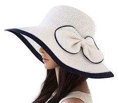 Luxury Lane Women's White Sun Hat With Bow