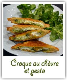 Croque au chèvre et pesto Vegetarian Recipes, Cooking Recipes, Healthy Recipes, Delicious Sandwiches, Pesto, Italian Recipes, Love Food, Entrees, Tapas