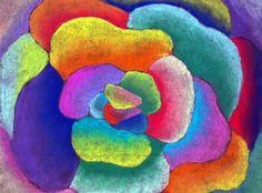 Georgia O'Keefe inspired Flower Zoom... Chalk blending on black paper... Grade 3/4