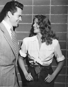 Rita Hayworth and Larry Parks on the set of Down to Earth, 1947
