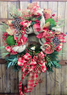 Rustic Christmas Burlap Wreath by WilliamsFloral on Etsy