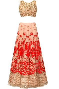 Peach and red floral thread and sequins embroidered lehenga set available only at Pernia's Pop Up Shop.