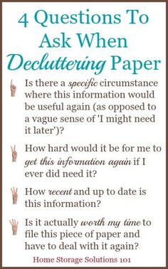 4 questions to ask when decluttering paper so that you can get rid of the right things! {on Home Storage Solutions 101}