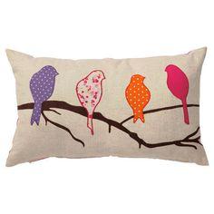 birds applique cushion