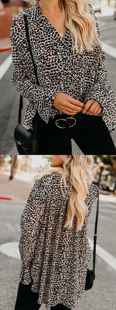 Gray V-neck Leopard Print Flare Sleeve Chic Women Shirt Winter Tops, Spring Tops, Holiday Outfits, Spring Outfits, Professional Dresses, Blouse Styles, Tank Top Shirt, Boho Style, My Style