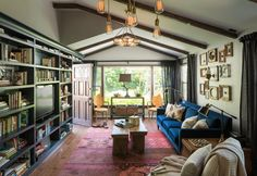 Bookcases, frames, lights- Eclectic Living Room by Shannon Ggem ASID