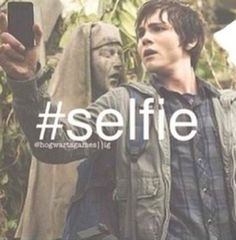 Logan Lerman (Percy Jackson) is taking a selfie while in a life or death situation:)