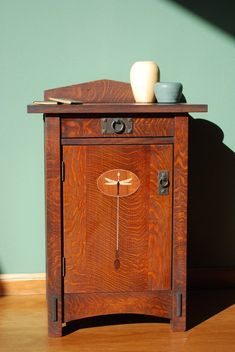 Dragonfly Nightstand - featuring original Arts and Crafts dragonfly motif. Comes with one adjustable shelf and cedar bottom drawer. Custom sizes available. Arts And Crafts For Adults, Arts And Crafts House, Home Crafts, Craftsman Style Furniture, Mission Style Furniture, Craftsman Lamps, Arts And Crafts Interiors, Arts And Crafts Furniture, Arts And Crafts Movement