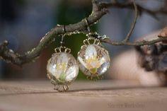 Spring Flower earrings Jasmine flowers dried flower herbarium botanical jewelry real flower earrings vintag blue jewelry @kristinka_skl