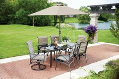 VALLEY STREAM 8-PIECE PATIO DINING SET with UMBRELLA - This patio set includes 2 swivel-tilt  chairs and 4 side chairs with padded sling seating, a rectangular dining table with cast center and 4 dark painted glass panels as well as a coordinating 8 ft. round umbrella