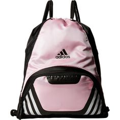 adidas Team Speed II Sackpack (Gala Pink) Bags ($17) ❤ liked on Polyvore featuring bags, handbags, black, adidas purse, pink drawstring bags, faux-leather handbags, pink bag and adidas bag