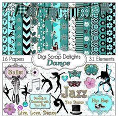 Dance Digital Scrapbook Kit w Ballet Jazz Tap by DigiScrapDelights, $6.00