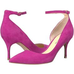 Ivanka Trump Brita (Dark Pink Suede/FH Kid Suede) High Heels ($126) ❤ liked on Polyvore featuring shoes, pumps, high heel pumps, d orsay pumps, high heel shoes, platform pumps and suede pumps