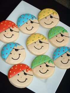 Items similar to Pirate Cookies - Decorated 1 Dozen Party Cookies - Birthday Cookies - Cookies on Etsy ARRRR buddy! These pirates are a nice addition to your pirate themed party! You get 1 dozen cookies Deco Pirate, Pirate Day, Pirate Theme, Iced Cookies, Cookies Et Biscuits, Boy Birthday, Birthday Parties, Pirate Birthday Cake, Pirate Cookies