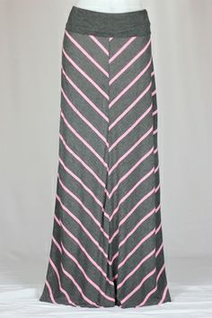 Pink and Gray Long Maxi Skirt - www.theskirtoutlet.com
