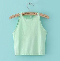 6 Colors Fitness Skinny Crop Top Women Tight Bustier Crop Top Skinny T-Shirt Belly Sports Dance Tops Vest Tank Tops