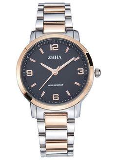 ZHHA Women's 061 Classic Quartz Black Dial Rose Gold Stainless Steel Bracelet Wrist Watch Waterproof