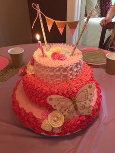 Little girls first birthday cake pink and gold
