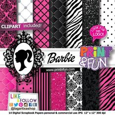 Barbie, Hot Pink and Black, Digital Paper, Patterns, Fondos Digitales for Classy and Fabulous Party, - Digital Papers and more!