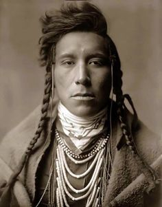 Crow Indian Boy by Edward Sheriff Curtis. (Antique photo of Native American)