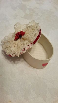 "Antique style lace rose trinket box with sequined accent around box top. 4"" handmade plastic canvas"