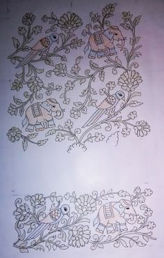 Indian Embroidery Designs, Floral Embroidery Patterns, Folk Embroidery, Machine Embroidery, Zardosi Embroidery, Tie Dye Crafts, Madhubani Painting, Peacock Design, Border Design