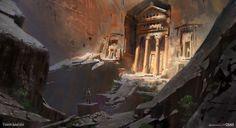 Cliff Tomb - Rise of the Tomb Raider Concept Art, Yohann Schepacz OXAN STUDIO on ArtStation at https://www.artstation.com/artwork/GkrxQ