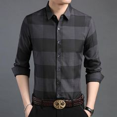 FreelyMen Long Sleeve Stylish Casual Lapel Button Plaid Fitted T-Shirts Shirt