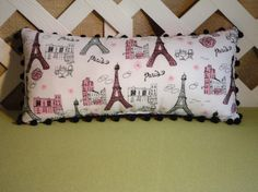 Eiffel Tower Paris Pillow in White Pink and Black with Sparkles Handmade by JRsPillowsandBags on Etsy https://www.etsy.com/listing/90394852/eiffel-tower-paris-pillow-in-white-pink