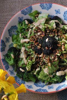 Purple Sprouting Caesar Salad with Toasted Tamari Seeds (Dairy free, refined sugar free, sugar free, egg free, vegan, gluten-free, grain free, paleo.) | Cooked Well