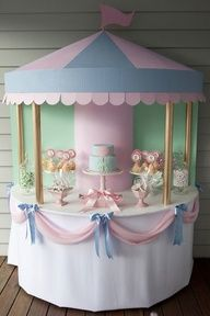 Mary Poppins Theme Pink and blue carousel shape dessert table