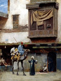 Charles Sprague Pearce (Boston, 1851 - París, The pottery seller in Old City Cairo Old Egypt, Egypt Art, Empire Ottoman, Islamic Paintings, Ink Paintings, Kairo, Academic Art, Pics Art, Historical Art