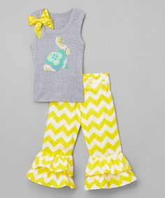 Look what I found on #zulily! Gray Bunny Tank & Yellow Ruffle Pants - Infant, Toddler & Girls #zulilyfinds