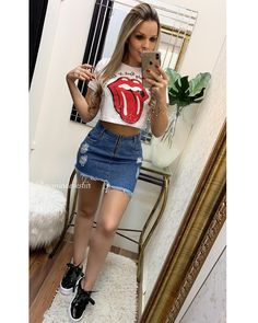 Image may contain: 1 person, standing and shorts Cute Summer Outfits, Girly Outfits, Outfits For Teens, Spring Outfits, Cool Outfits, Casual Outfits, Fashion Outfits, Womens Fashion, New Look Fashion