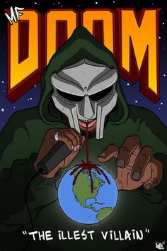 The caricature/portrait I did for my illustration class. I chose to do one of my favorite rappers MF DOOM. I thought the font from the Doom video game would be appropriate. Photographie Indie, Arte Hip Hop, Hip Hop Quotes, Rapper Art, Hip Hop Albums, Avatar, Hip Hop Artists, Room Posters, Poster Wall