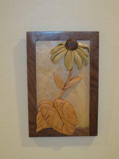 Black Eyed Susan intarsia hand carved by RAKOWOODS by RAKOWOODS, $60.00