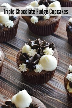 Triple Chocolate Fudge Cupcakes | Not only rich and decadent but also filled with a creamy center!